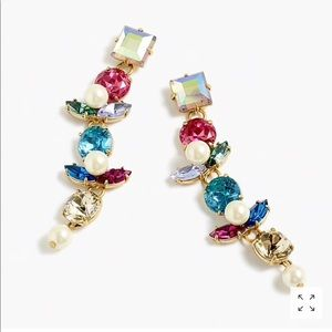 J.crew crystal and pearl drop earring